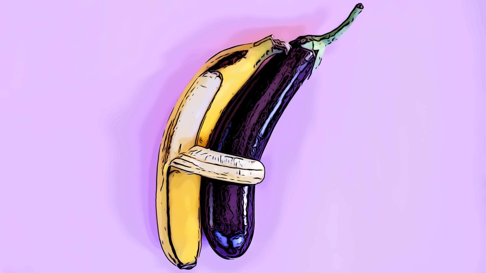 Eggplant banana header comic